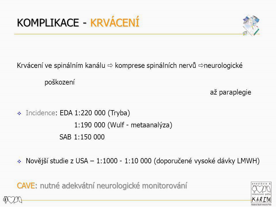 KOMPLIKACE - KRVÁCENÍ CAVE: nutné adekvátní neurologické monitorování