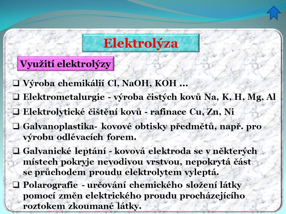 Elektrolýza Využití elektrolýzy Výroba chemikálií Cl, NaOH, KOH …