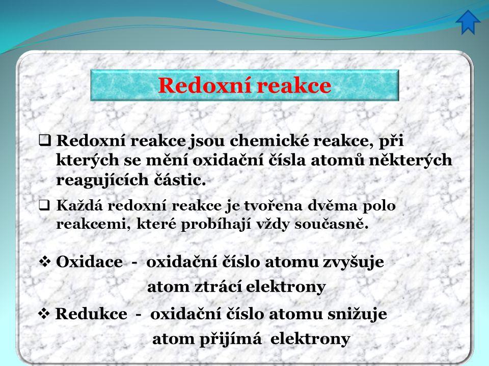 Redoxní reakce Redoxní reakce jsou chemické reakce, při kterých se mění oxidační čísla atomů některých reagujících částic.
