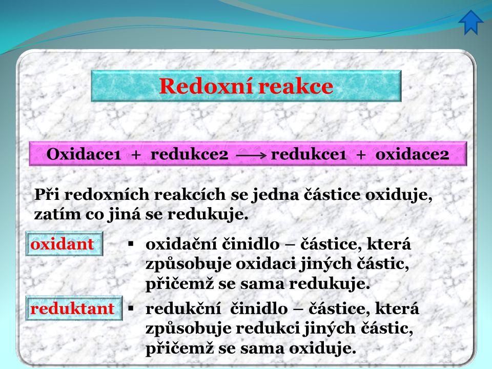 Oxidace1 + redukce2 redukce1 + oxidace2