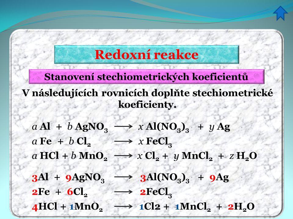 Redoxní reakce Stanovení stechiometrických koeficientů