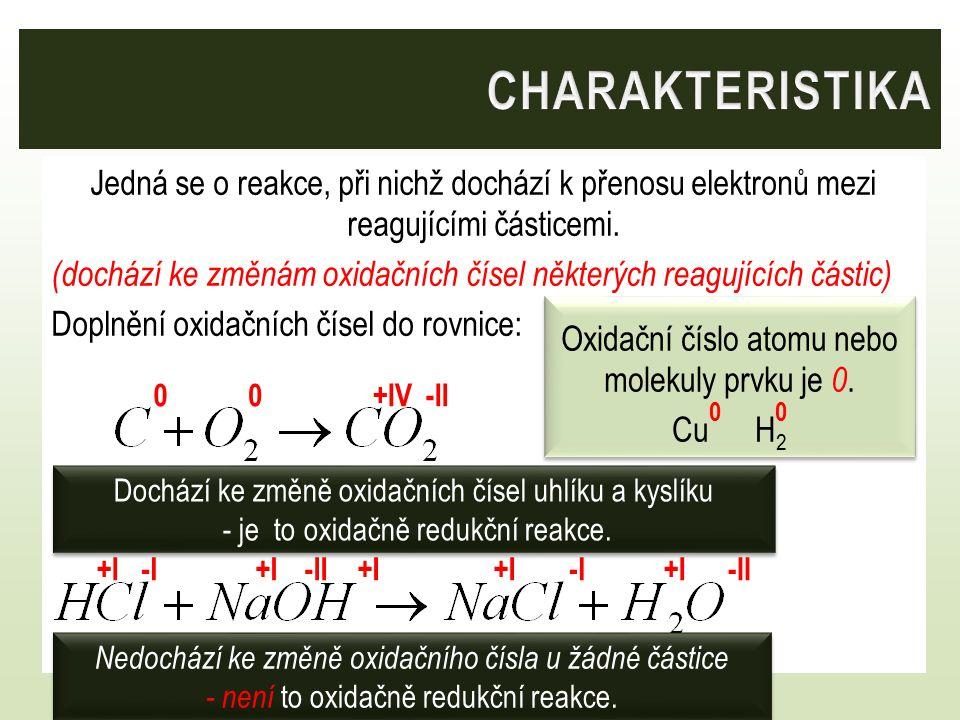 Oxidační číslo atomu nebo molekuly prvku je 0.