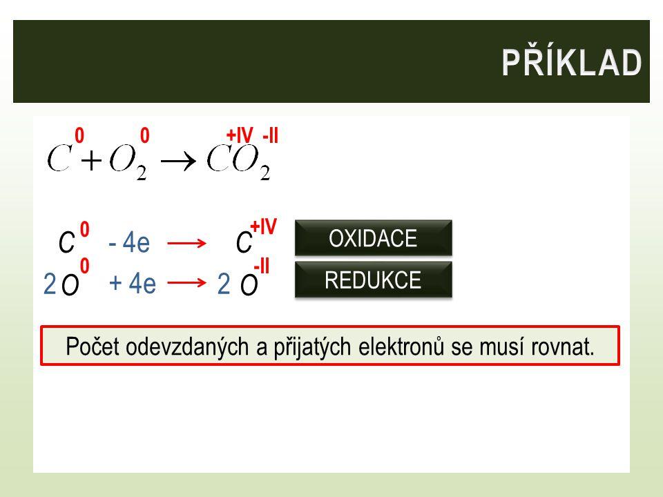 Počet odevzdaných a přijatých elektronů se musí rovnat.