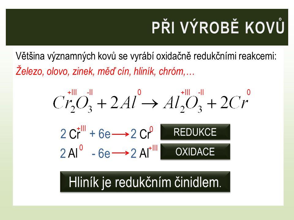 Hliník je redukčním činidlem.