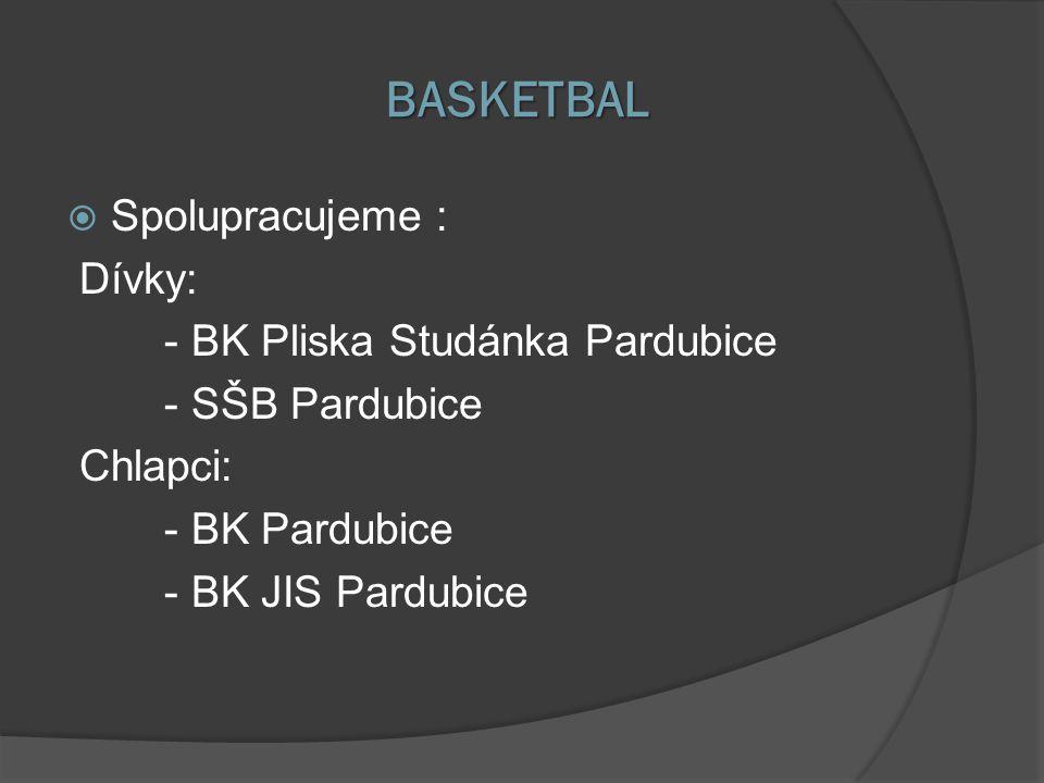 BASKETBAL Spolupracujeme : Dívky: - BK Pliska Studánka Pardubice