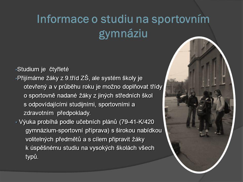 Informace o studiu na sportovním gymnáziu