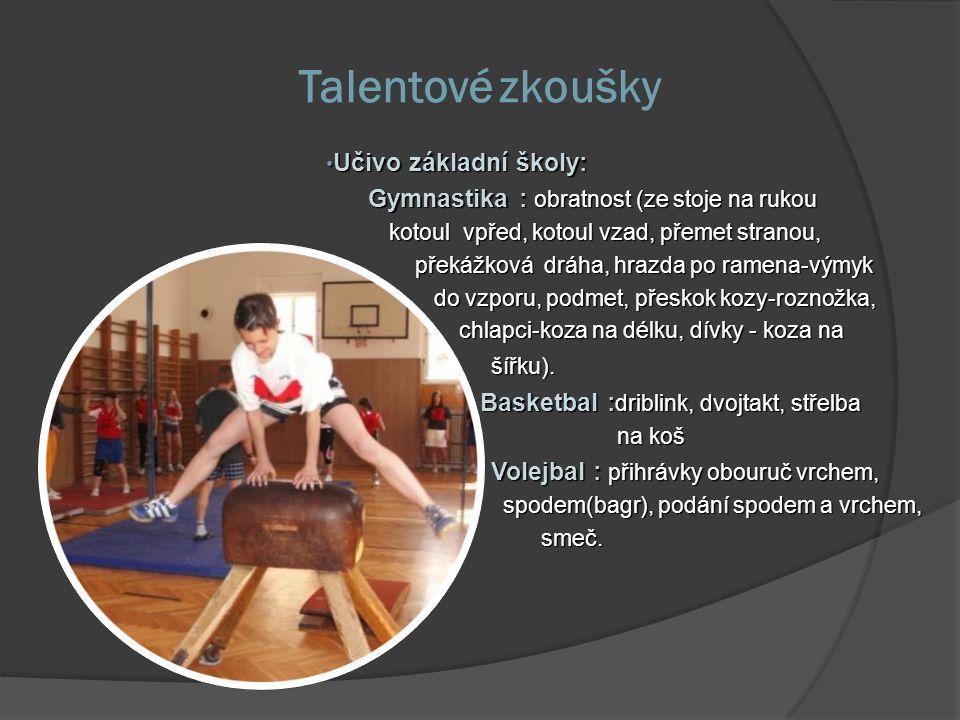 Talentové zkoušky Učivo základní školy: