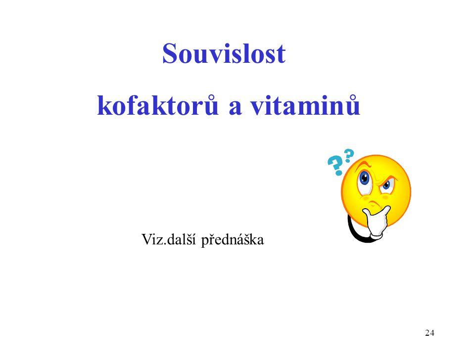 Souvislost kofaktorů a vitaminů Viz.další přednáška