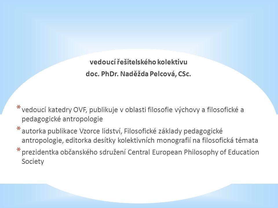 vedoucí řešitelského kolektivu doc. PhDr. Naděžda Pelcová, CSc.