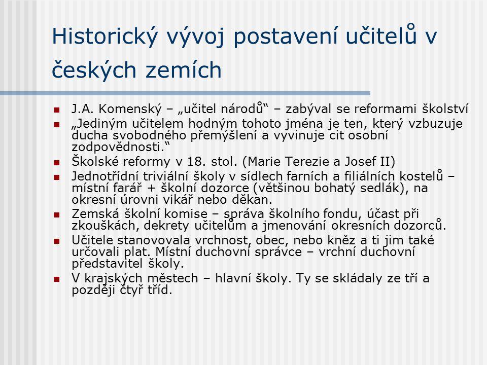 Historický vývoj postavení učitelů v českých zemích