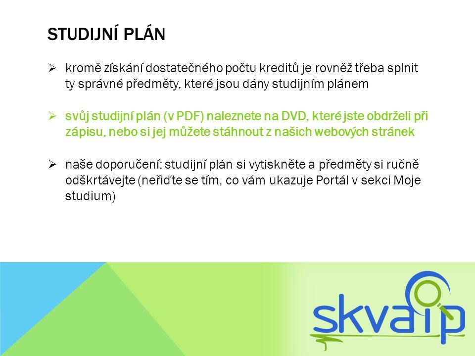 Studijní plán kromě získání dostatečného počtu kreditů je rovněž třeba splnit ty správné předměty, které jsou dány studijním plánem.