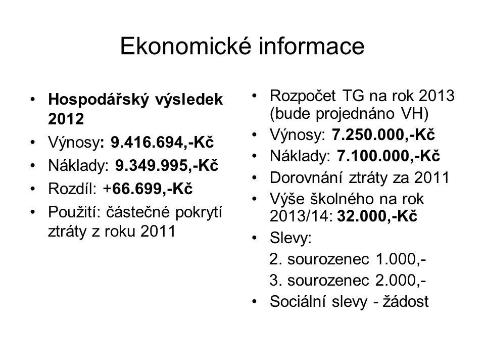 Ekonomické informace Hospodářský výsledek 2012