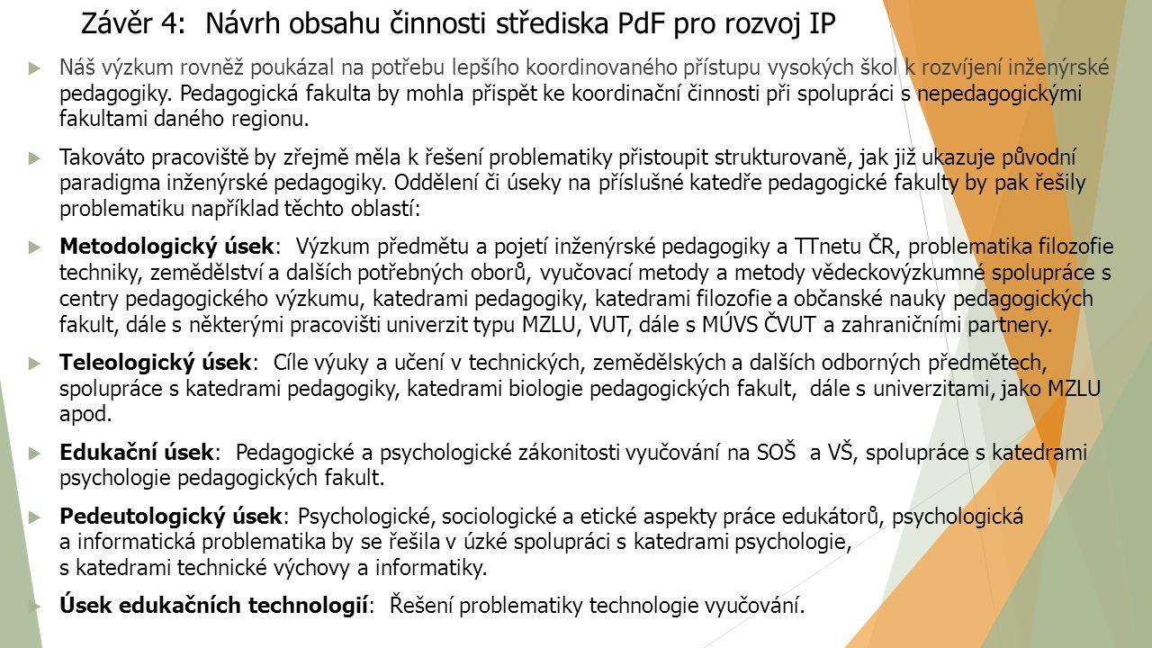 Závěr 4: Návrh obsahu činnosti střediska PdF pro rozvoj IP