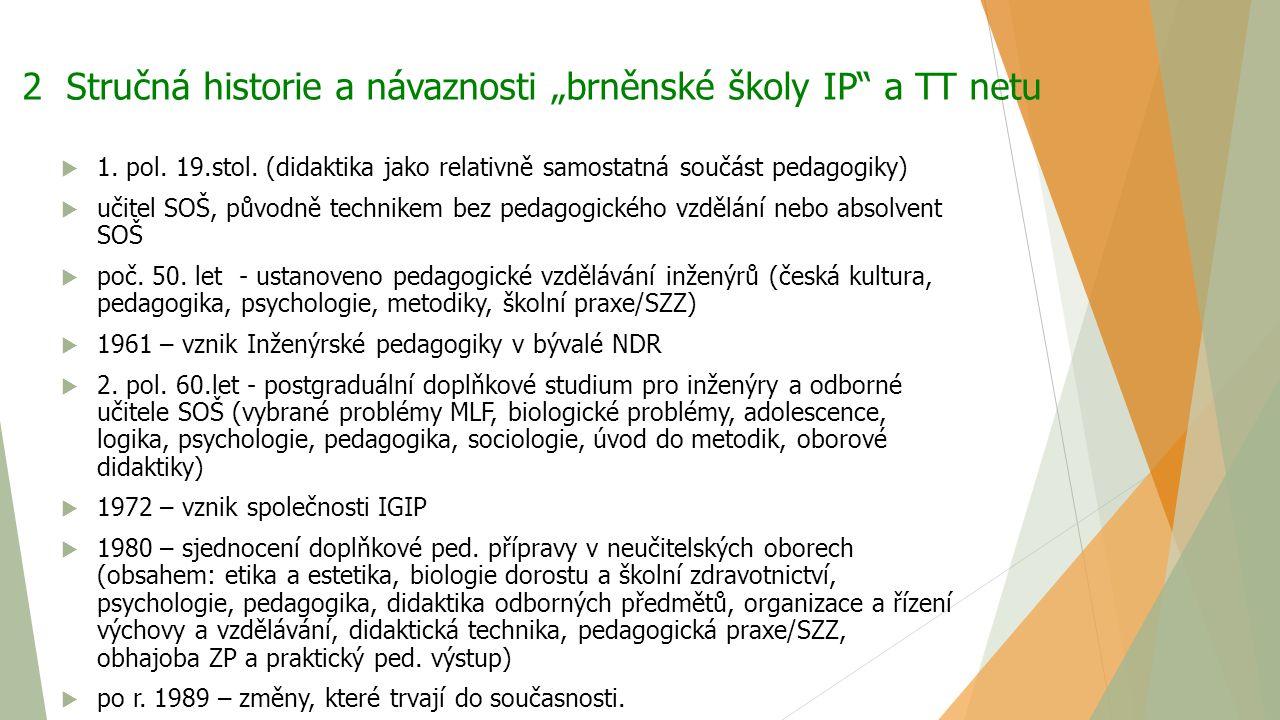 """2 Stručná historie a návaznosti """"brněnské školy IP a TT netu"""