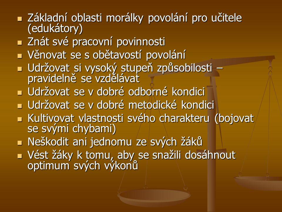 Základní oblasti morálky povolání pro učitele (edukátory)