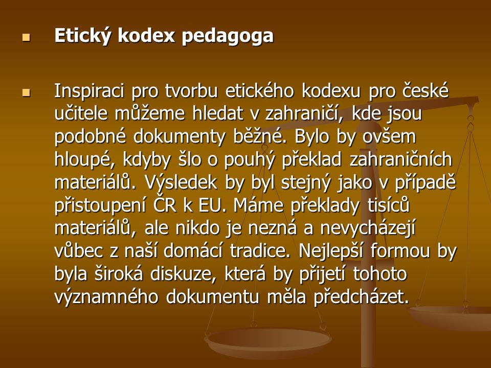Etický kodex pedagoga