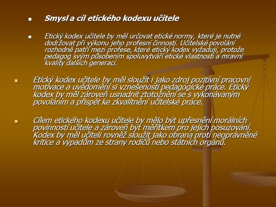 Smysl a cíl etického kodexu učitele