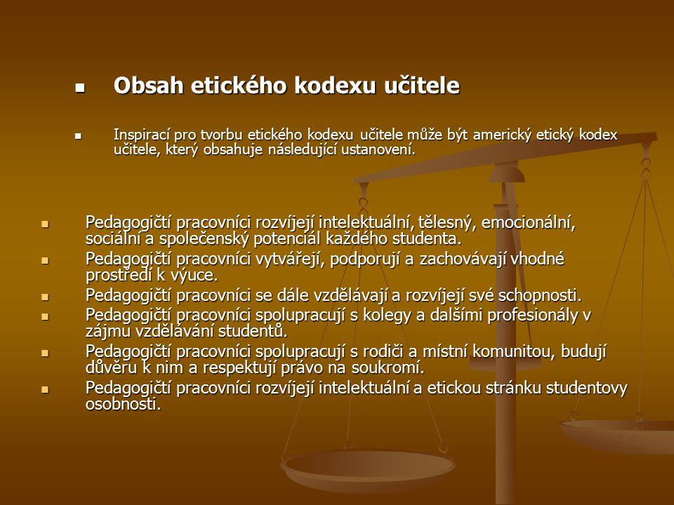 Obsah etického kodexu učitele