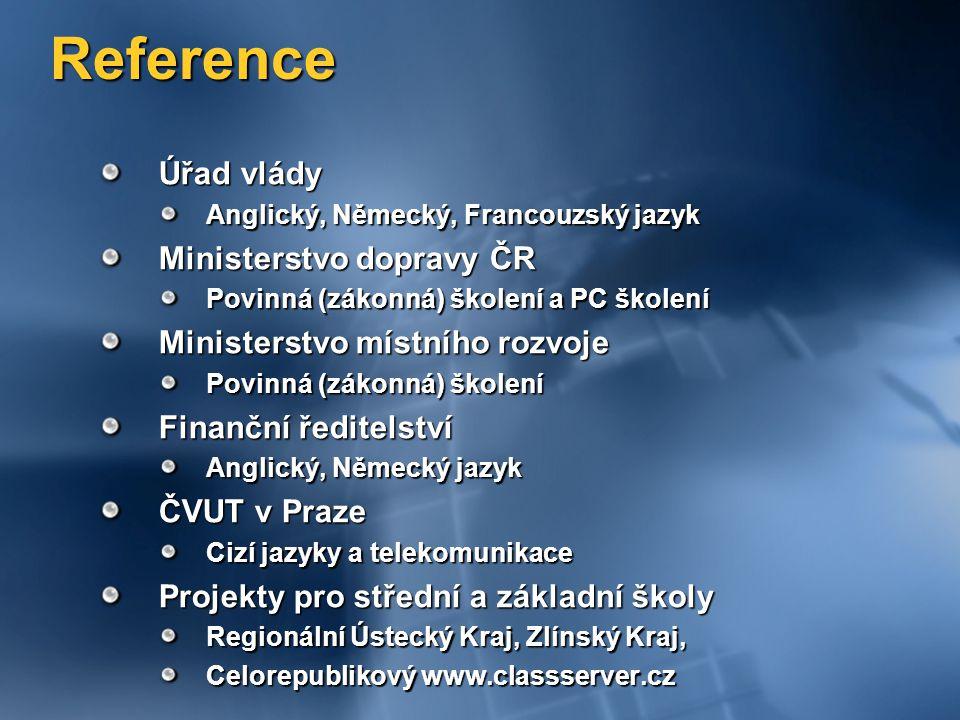 Reference Úřad vlády Ministerstvo dopravy ČR