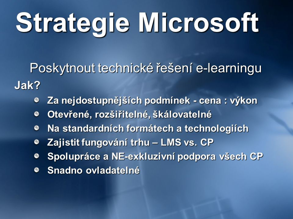Poskytnout technické řešení e-learningu
