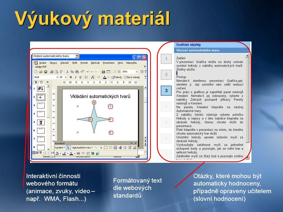 Výukový materiál Interaktivní činnosti webového formátu (animace, zvuky, video – např. WMA, Flash...)