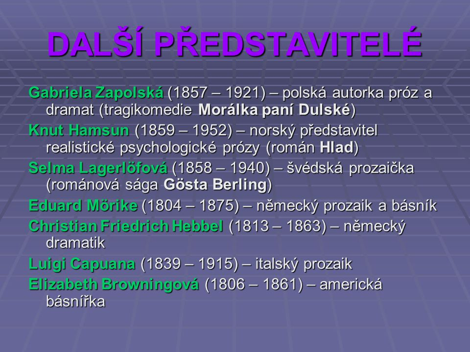 DALŠÍ PŘEDSTAVITELÉ Gabriela Zapolská (1857 – 1921) – polská autorka próz a dramat (tragikomedie Morálka paní Dulské)