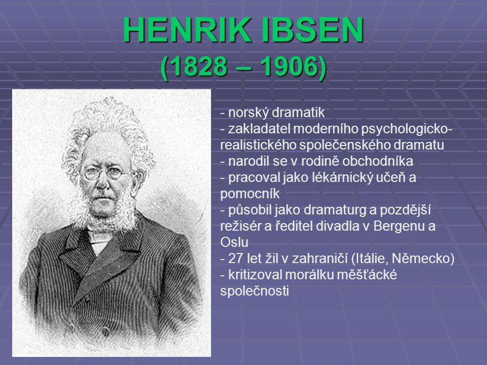 HENRIK IBSEN (1828 – 1906) norský dramatik