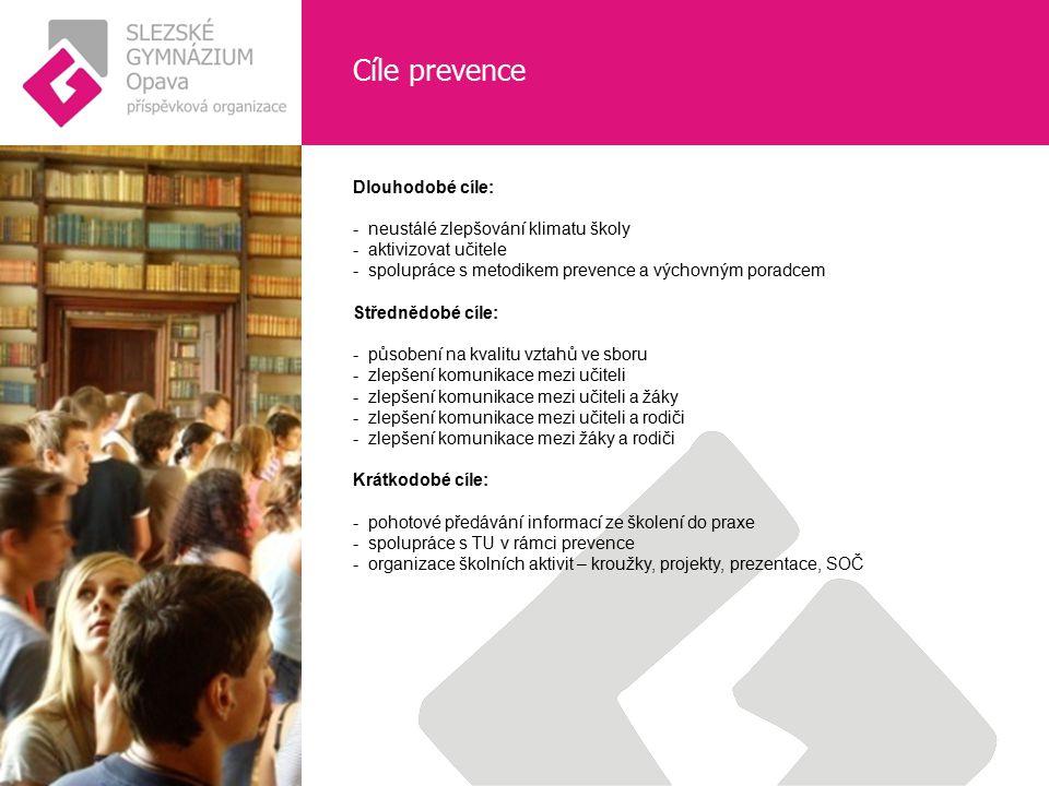 Cíle prevence Dlouhodobé cíle: - neustálé zlepšování klimatu školy