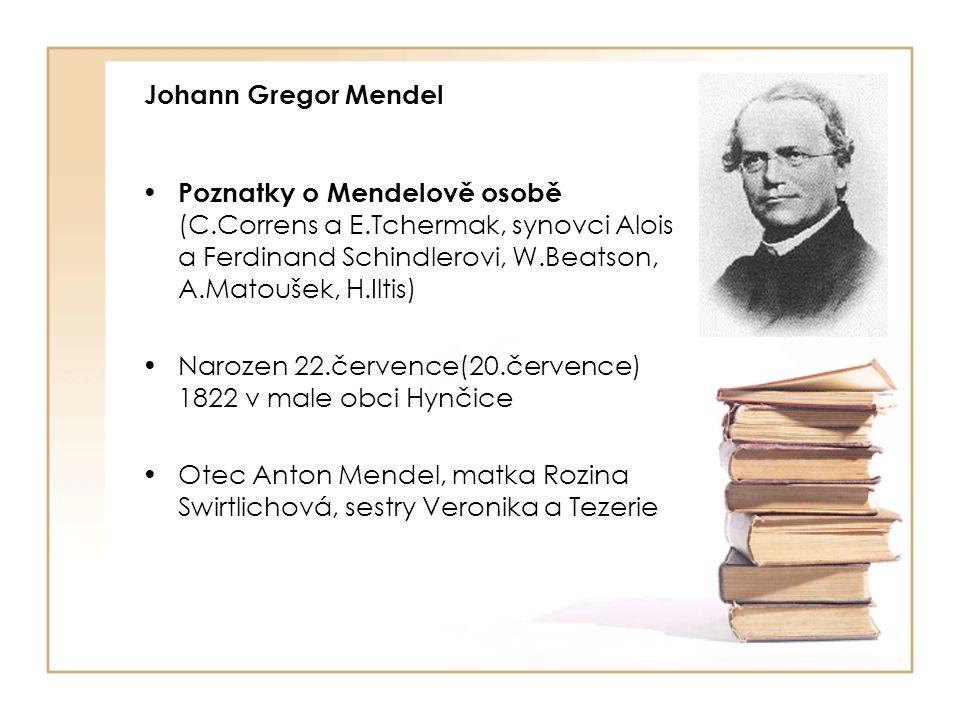 Johann Gregor Mendel Poznatky o Mendelově osobě (C.Correns a E.Tchermak, synovci Alois a Ferdinand Schindlerovi, W.Beatson, A.Matoušek, H.Iltis)