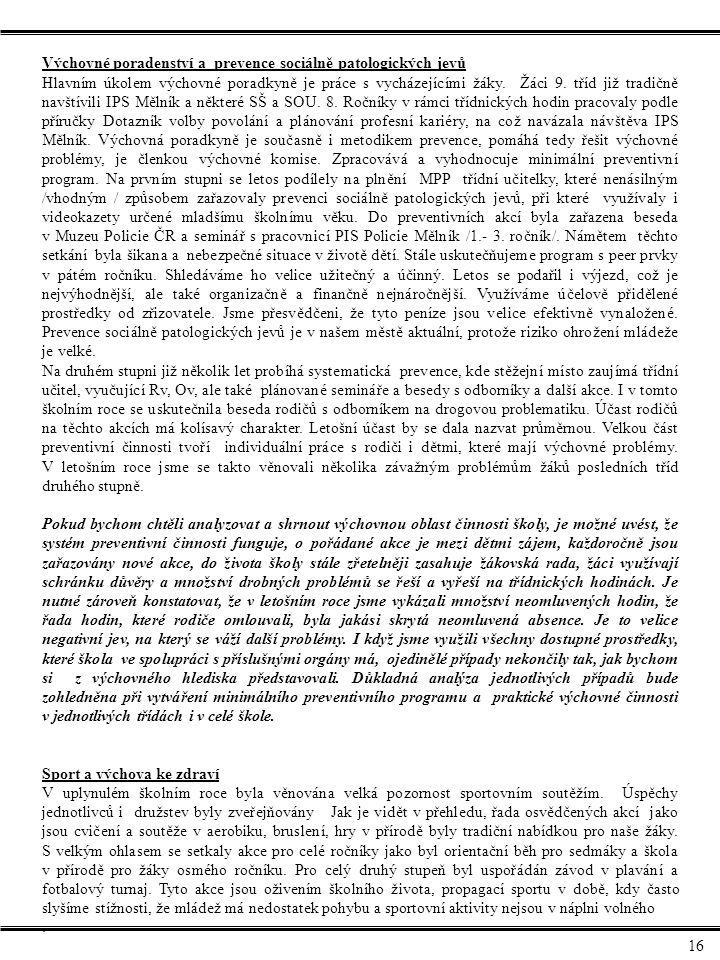 Výchovné poradenství a prevence sociálně patologických jevů