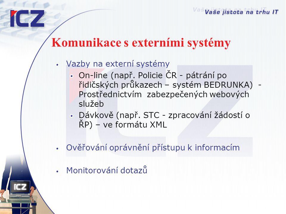 Komunikace s externími systémy