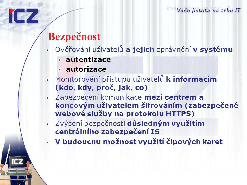 Bezpečnost Ověřování uživatelů a jejich oprávnění v systému