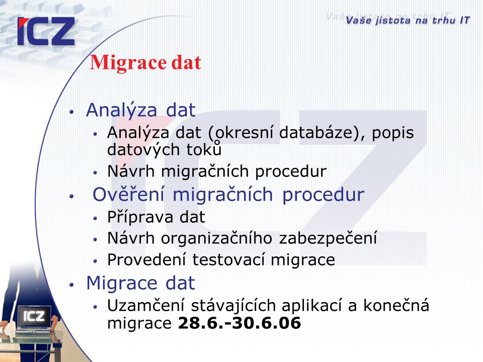 Migrace dat Analýza dat Ověření migračních procedur Migrace dat