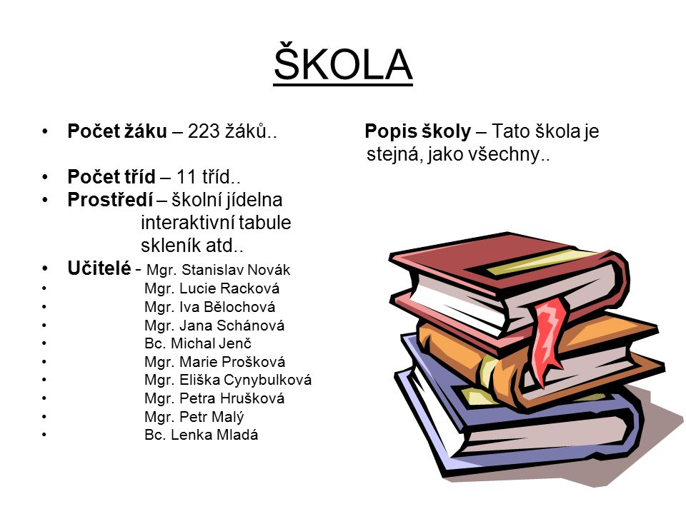 ŠKOLA Počet žáku – 223 žáků.. Popis školy – Tato škola je