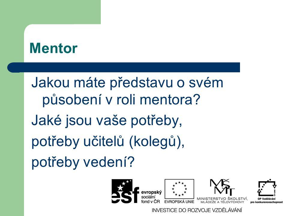 Mentor Jakou máte představu o svém působení v roli mentora Jaké jsou vaše potřeby, potřeby učitelů (kolegů),