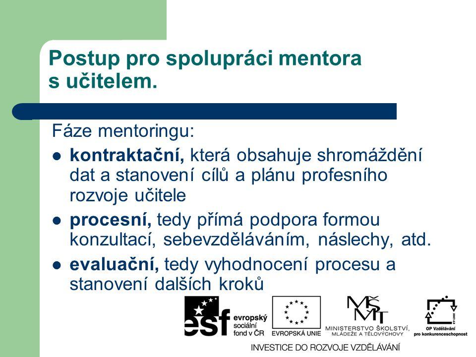 Postup pro spolupráci mentora s učitelem.