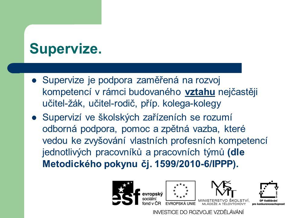Supervize. Supervize je podpora zaměřená na rozvoj kompetencí v rámci budovaného vztahu nejčastěji učitel-žák, učitel-rodič, příp. kolega-kolegy.