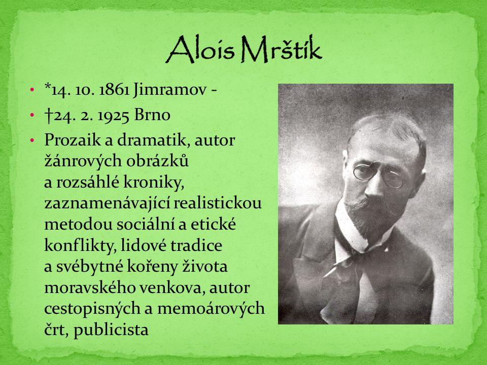Alois Mrštík *14. 10. 1861 Jimramov - †24. 2. 1925 Brno