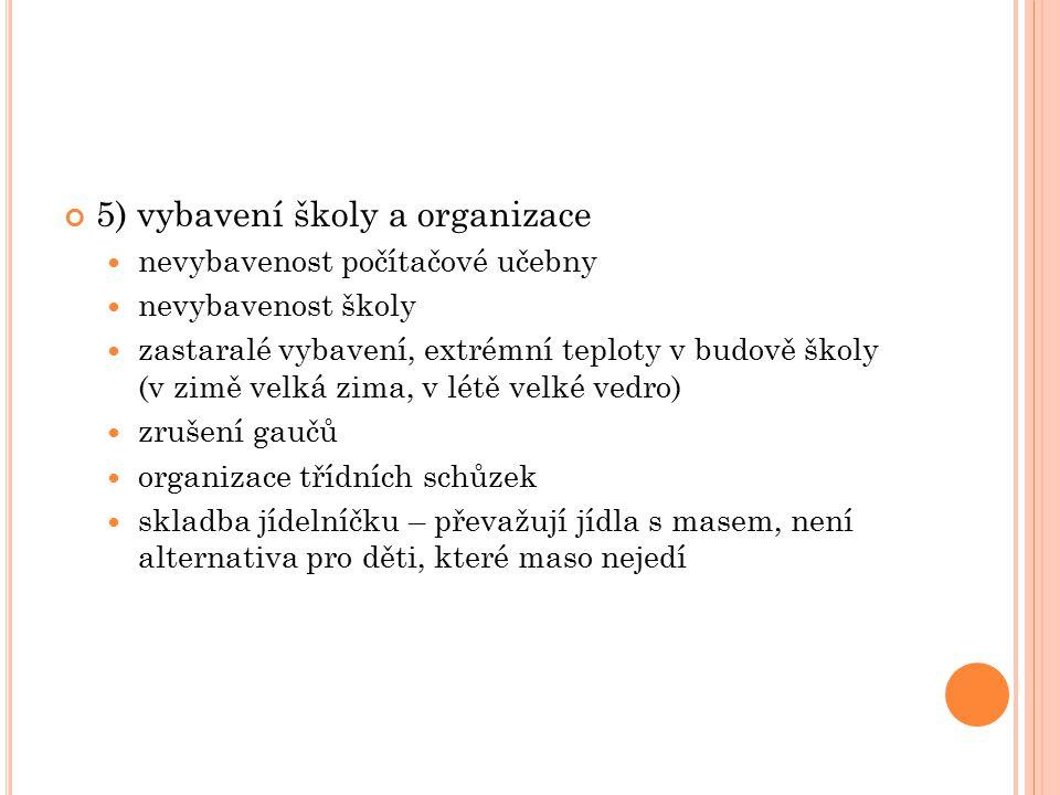 5) vybavení školy a organizace