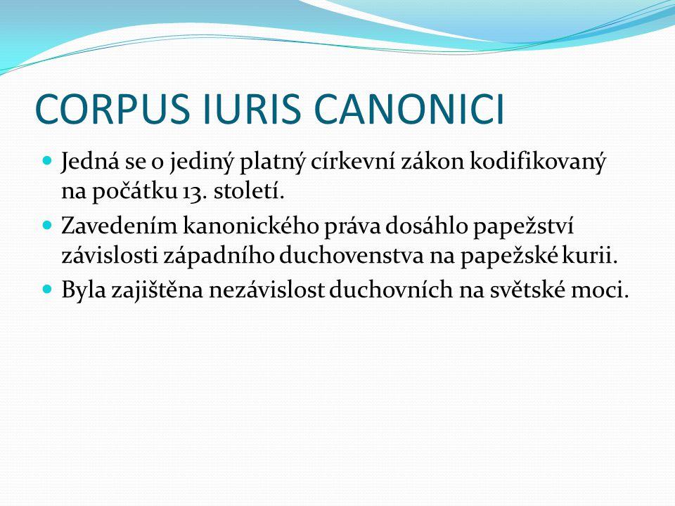 CORPUS IURIS CANONICI Jedná se o jediný platný církevní zákon kodifikovaný na počátku 13. století.