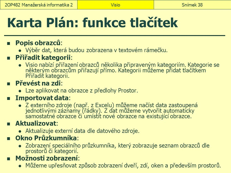 Karta Plán: funkce tlačítek