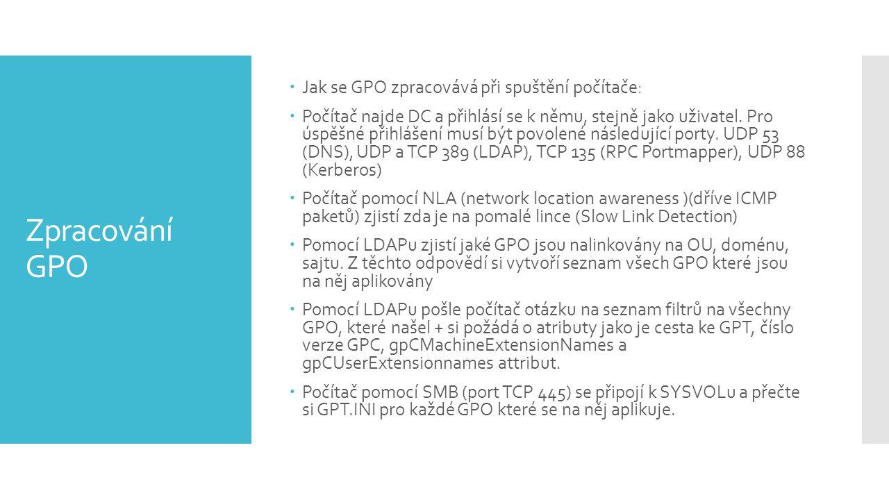 Zpracování GPO Jak se GPO zpracovává při spuštění počítače: