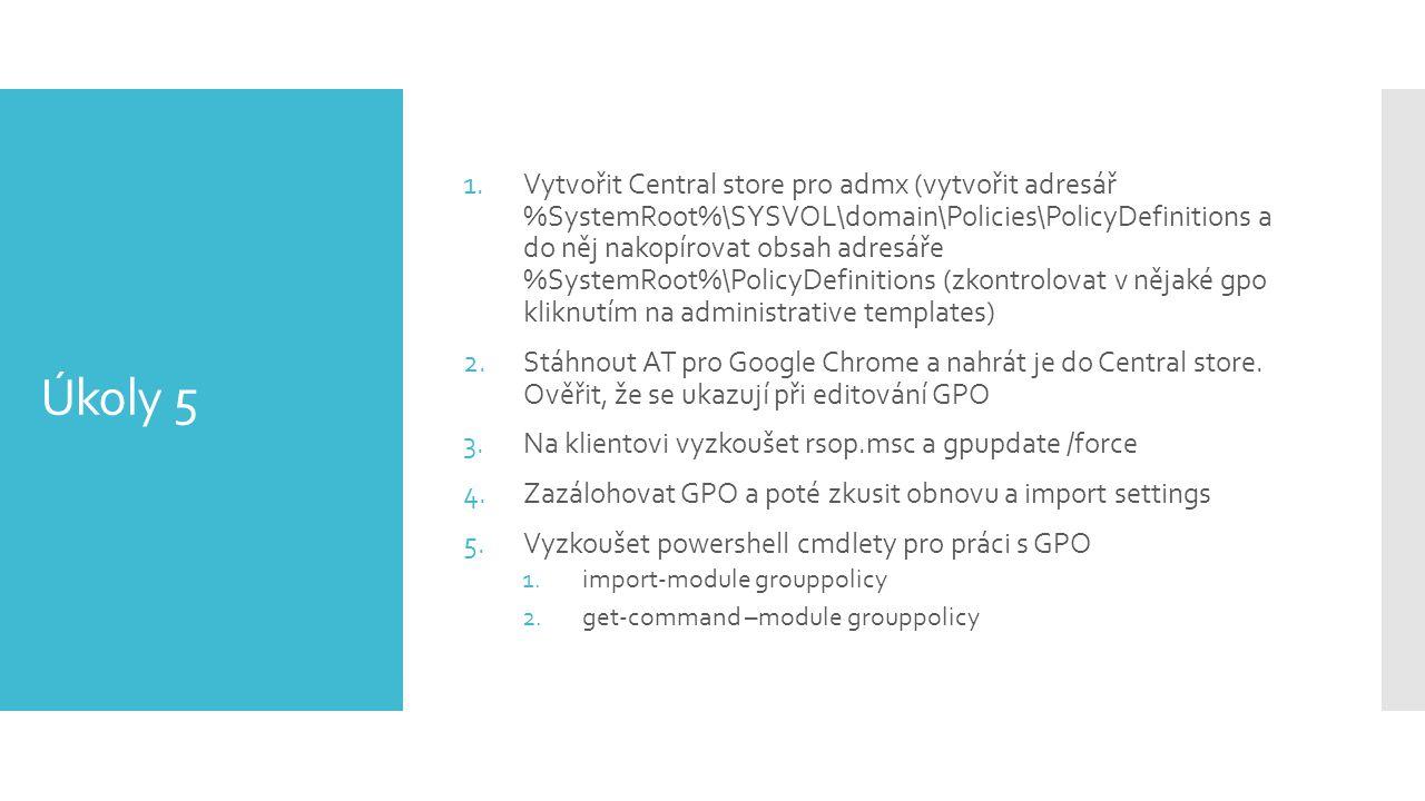 Vytvořit Central store pro admx (vytvořit adresář %SystemRoot%\SYSVOL\domain\Policies\PolicyDefinitions a do něj nakopírovat obsah adresáře %SystemRoot%\PolicyDefinitions (zkontrolovat v nějaké gpo kliknutím na administrative templates)