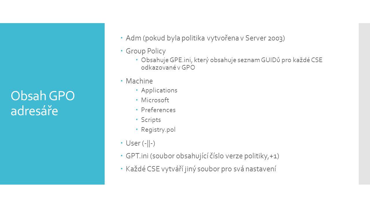 Obsah GPO adresáře Adm (pokud byla politika vytvořena v Server 2003)