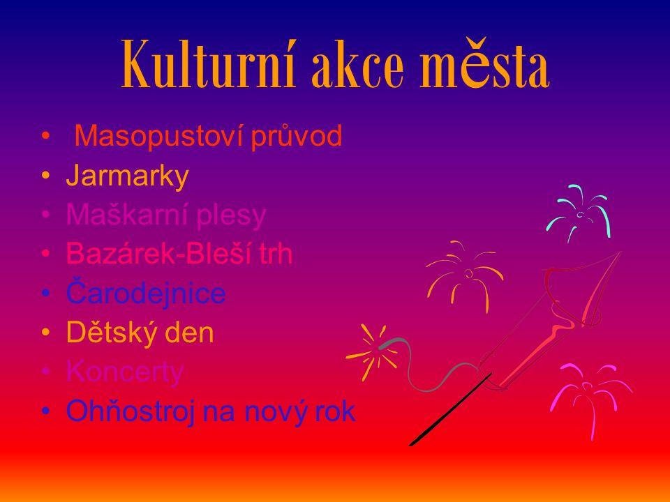 Kulturní akce města Masopustoví průvod Jarmarky Maškarní plesy