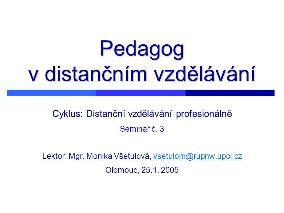 Pedagog v distančním vzdělávání