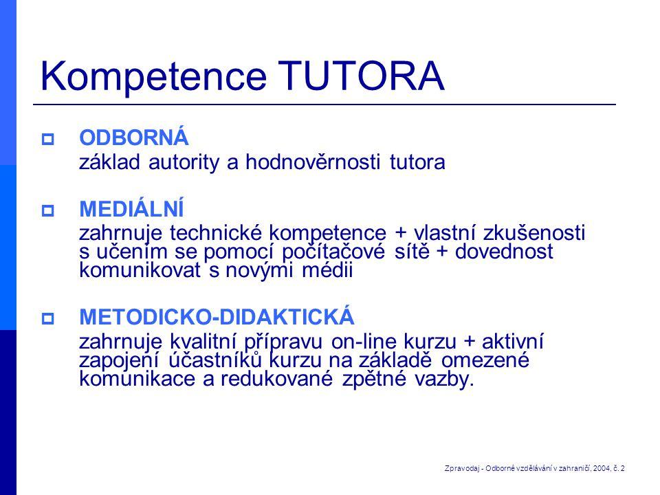 Kompetence TUTORA ODBORNÁ základ autority a hodnověrnosti tutora