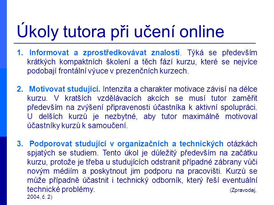 Úkoly tutora při učení online