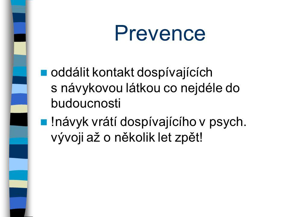 Prevence oddálit kontakt dospívajících s návykovou látkou co nejdéle do budoucnosti.