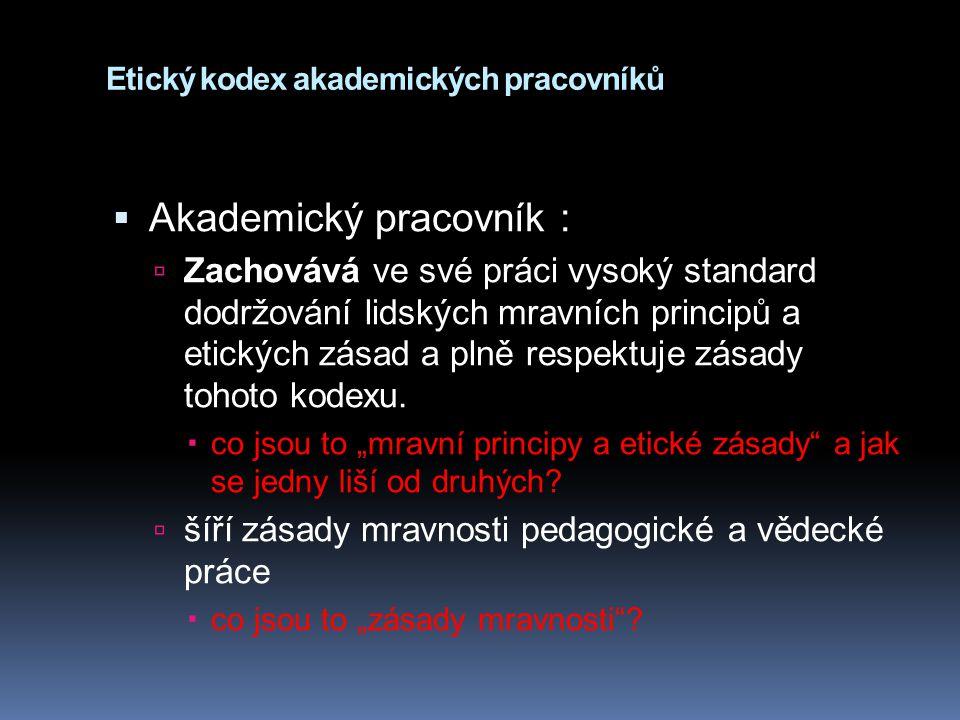 Etický kodex akademických pracovníků
